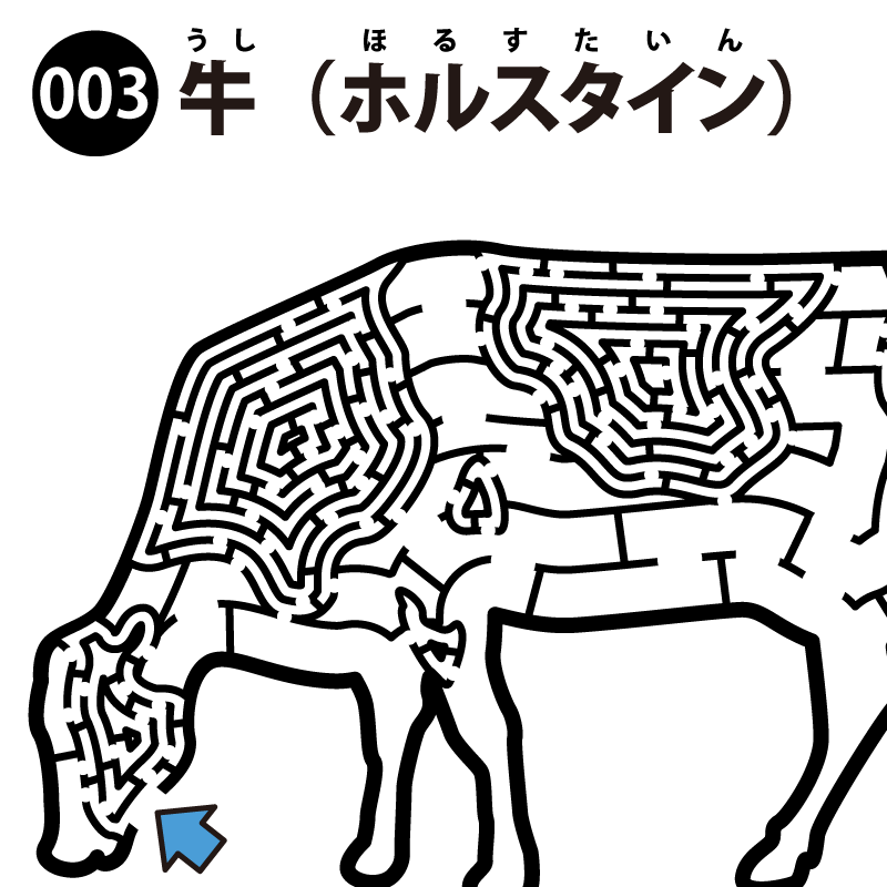 【2色迷路】牛(ホルスタイン) アイキャッチ