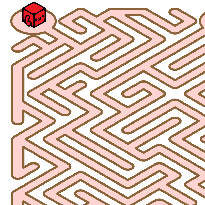 赤と水色のメイロボ迷路 アイキャッチ